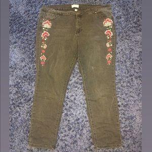Floral black jeans